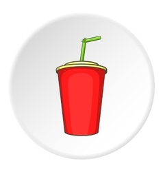 Plastic cup with straw icon cartoon style vector