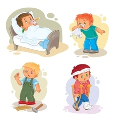 Set icons little boy sick vector image