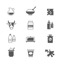 diary products milk icons set vector image