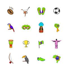 Brazil icons set cartoon vector