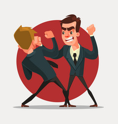 Businessmen characters fight vector