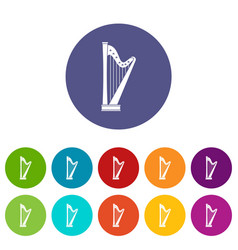 harp icons set flat vector image