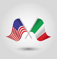 Two crossed american and italian flags on stick vector