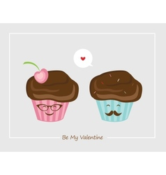 Hipster retro muffins  happy valentines vector