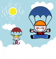 kids with parachute vector image