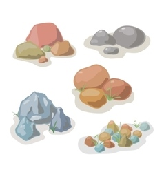 Stone and rock collection set vector