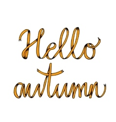 Hello autumn poster with lettering vector