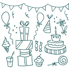 Birthday sketches vector