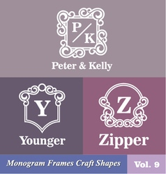 Monogram frames craft shapes set vector