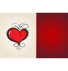 Heart with vintage pattern abstract valentine card vector