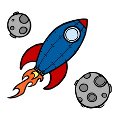 Rocket and moons vector