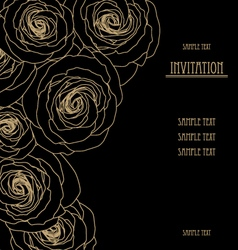 Black wallpaper with big roses invitation card vector image