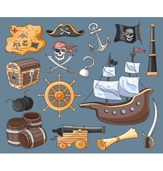 Doodle set of pirates vector