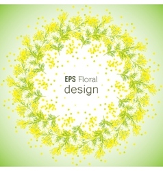 Spring flower background with wreath of mimosa vector