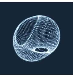 Wireframe object with dots 3d glowing grid vector