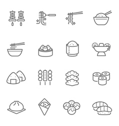 Lines icon set - eastern food vector