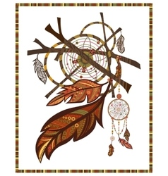 Elements ethnic style dreamcatcher twigs vector