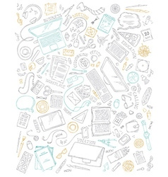 Set of office supplies and gadgets isolated on vector