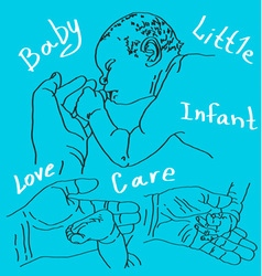 Baby hand and foot vector image vector image