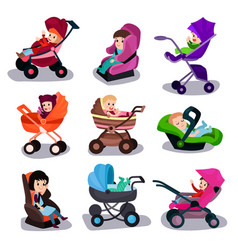 Baby strollers and car seats set safety vector