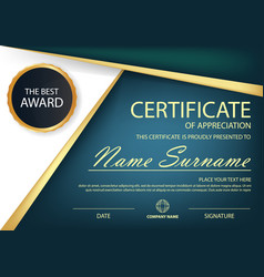 blue elegance horizontal certificate vector image vector image