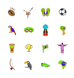Brazil icons set cartoon vector