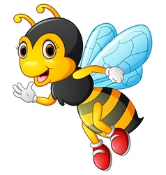 Cartoon bee waving hand vector