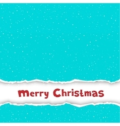 Christmas congratulation torn blue paper vector