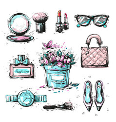 collection set of sketchy fashion stylish elements vector image vector image