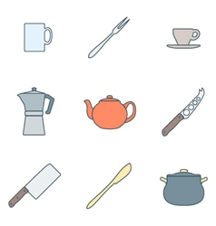 color outline dinnerware icons set vector image vector image
