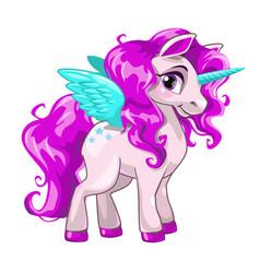 cute unicorn princess icon vector image vector image