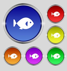 Fish icon sign round symbol on bright colourful vector