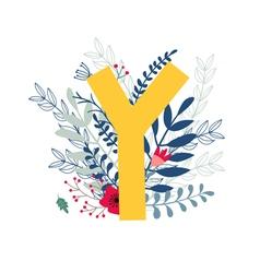 Floral alphabet letter y vector