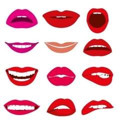 Girl mouth lip gestures of different emotions vector