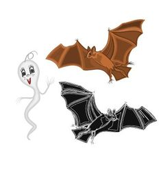 Halloween ghost and bat vector image