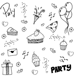 Hand draw doodle birthday party vector