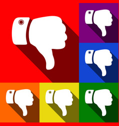 Hand sign set of icons with vector
