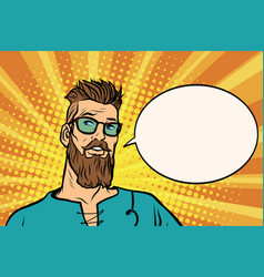Hipster is thinking about something a comic book vector