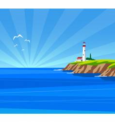 Lighthouse day vector