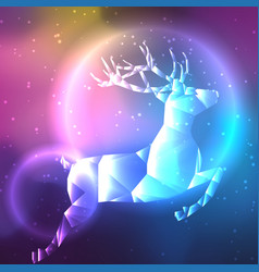 low poly crystal polar deer space background with vector image