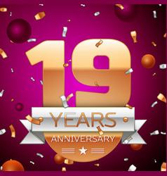 Nineteen years anniversary celebration design vector