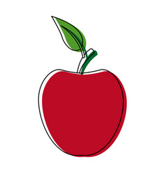 Red apple fruit with green leave delicious food vector