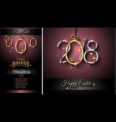 Restaurant menu template for 2018 easter lunch or vector
