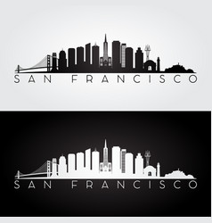 san francisco usa skyline and landmarks silhouette vector image vector image