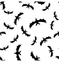 Seamless pattern background with bats black on vector