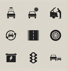set of 9 editable car icons includes symbols such vector image vector image