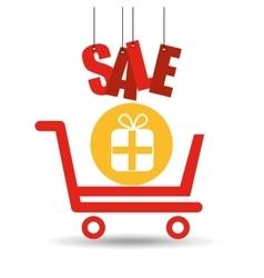 shopping cart sale gift box icon vector image vector image