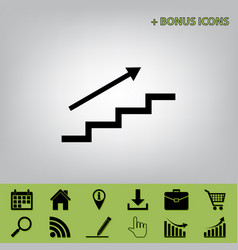 Stair with arrow black icon at gray vector