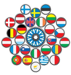 The work of the EU in the form of gears vector image