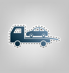 Tow car evacuation sign blue icon with vector